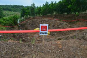 An area with unexploded ordinance cordoned off by the Mines Advisory Group