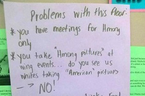 Discriminatory note against a Hmong student