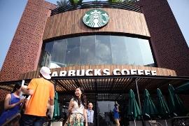 The first Starbucks coffee shop in Vietnam.
