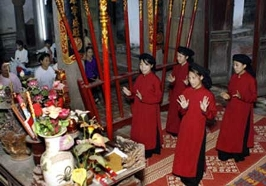 Singers perform 'hat xoan,' a traditional style of ritual folk singing sung during spring festivals