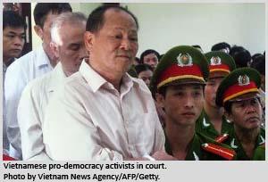 Vietnamese pro-democracy activists in court.