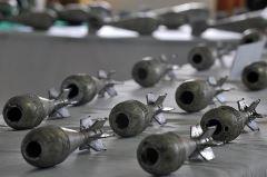 Mortar shells left form American forces
