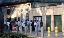 People waiting in visas line