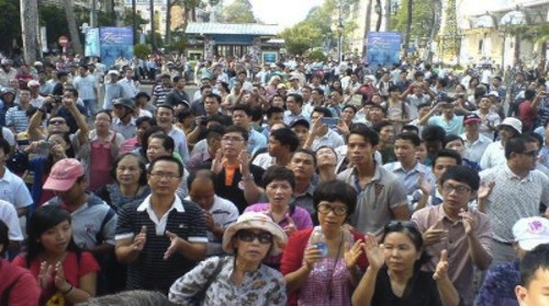 Vietnamese protesters on the street of Hanoi in March demanding for a new draft in the constitution that includes human rights.