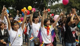 Participants at a LGBT event in Hanoi