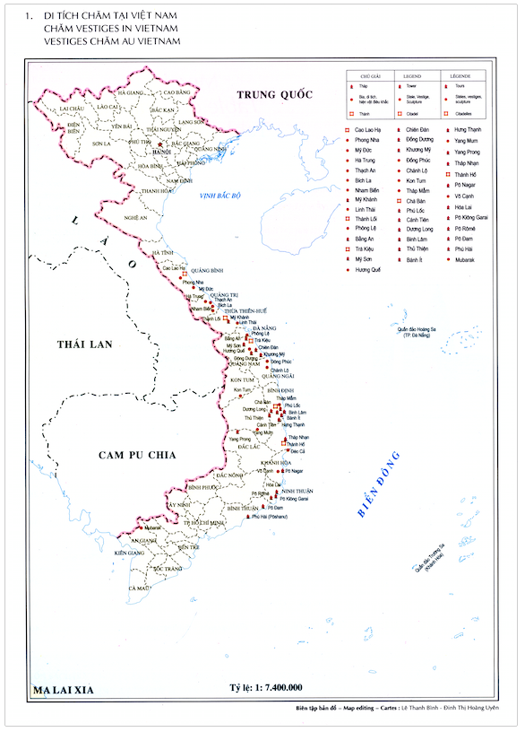A map of Chăm vestiges in Việt Nam shows, with red dots, all the major temple sites in the country.