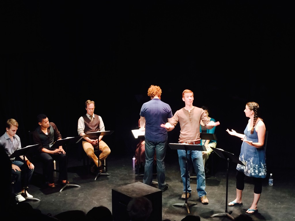Actors stage-reading SOUND at the Playwright Foundation Festival, San Francisco