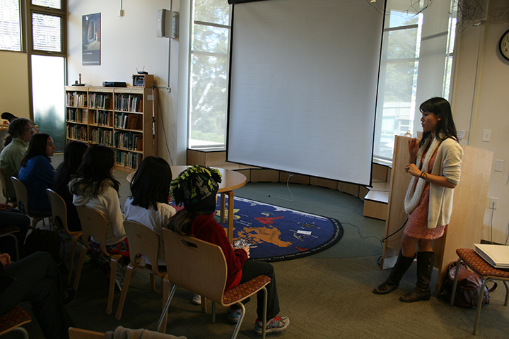 Natalia giving a workshop at her elementary school, The Nueva School, to sixth graders.