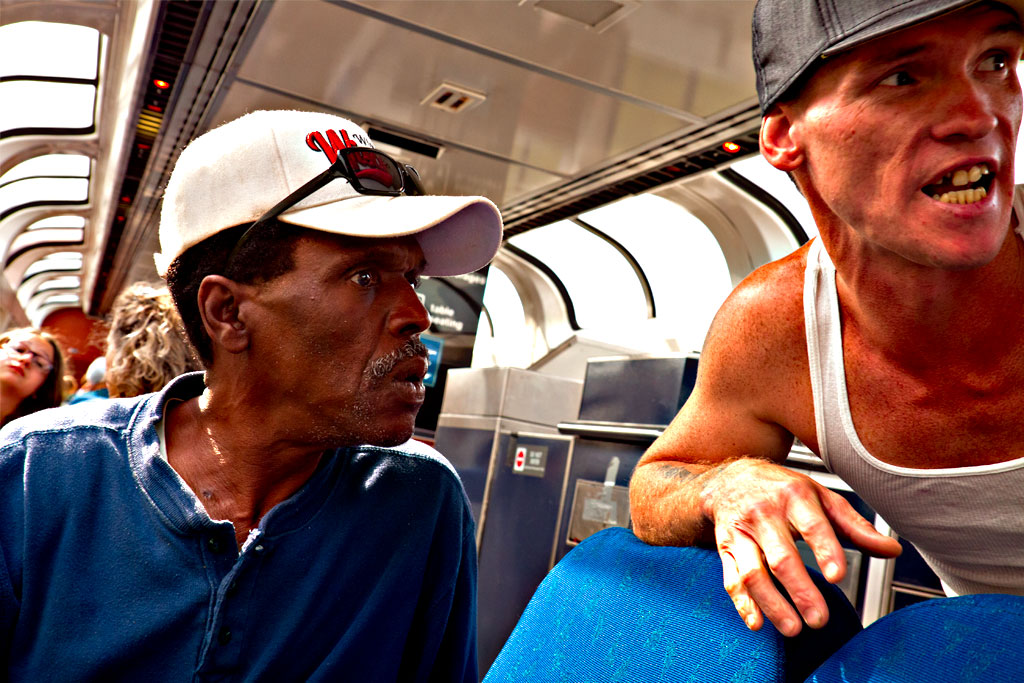 Vietnam vet George on Amtrak train