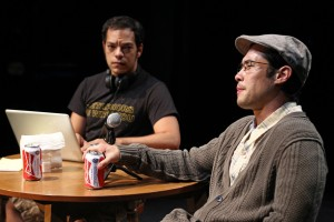 Paco Tolson as the playwright and Raymond Lee as older Quang in the moving epilogue of Vietgone. Photo courtesy of South Coast Repertory.