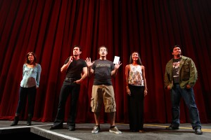 From left to right: Samantha Quan, Raymond Lee, Paco Tolson, Maureen Sebastian and Jon Hoche in the opening scene of Vietgone. Photo courtesy of South Coast Repertory.