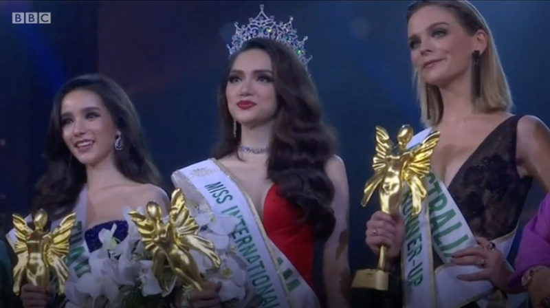 Nguyen Huong Giang wins Miss International Queen in Thailand at the beauty pageants for transgender women