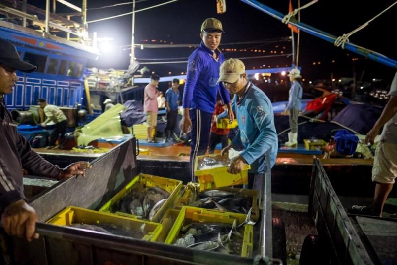 Vietnamese dock workers