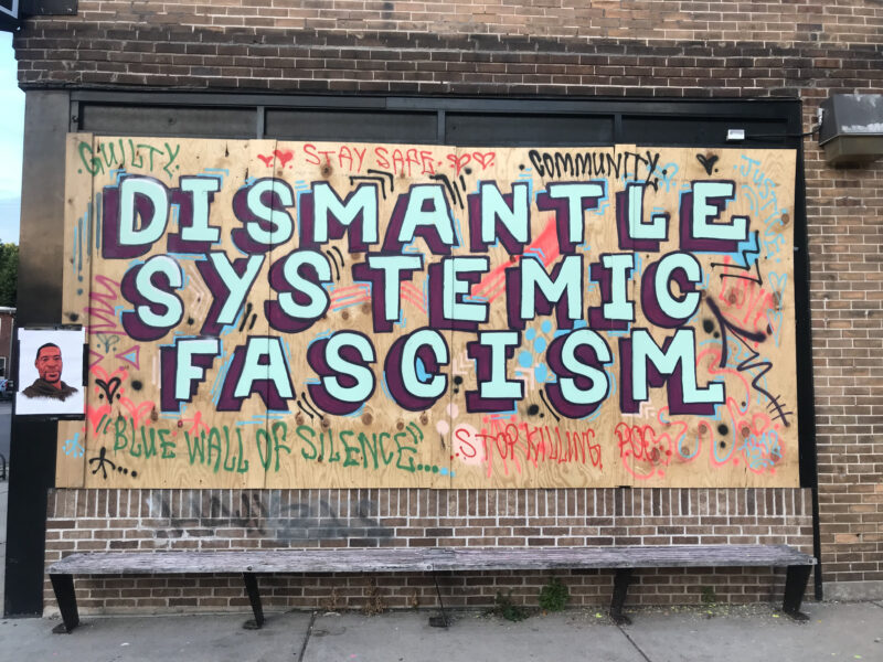 "A storefront with boarded up windows. There is graffiti on the plywood. In light seafoam green, outlined in brown, the graffiti reads ""Dismantle Systemic Fascism."""